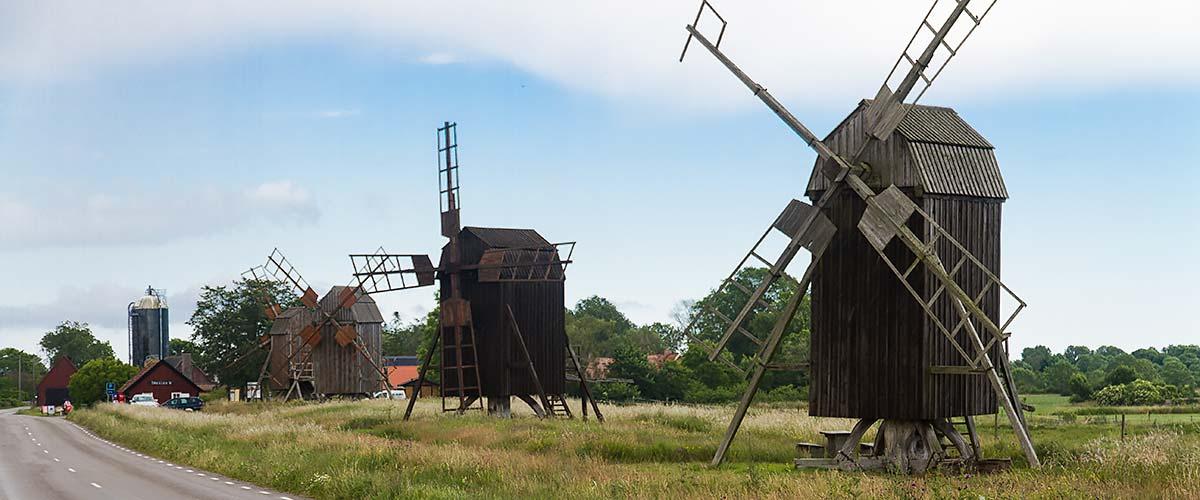 Öländska väderkvarnar i Lerkaka på Öland